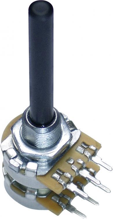 Potenţiometru 20 mm PC2G20BU, tip 9908, stereo, Lin, 100 kΩ, 0,25 W