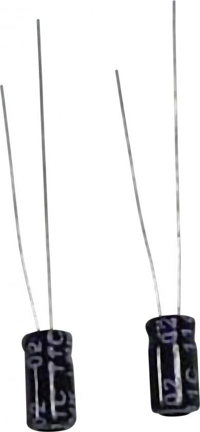Condensator electrolitic, miniatură, RM 2,5 mm, 10 µF, 63 V