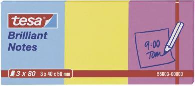 Notițe adezive (L x l) 50 x 40 mm, albastru, galben, roz, Tesa 56003