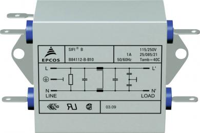 Filtru deparazitare SIFI B, atenuare mărită, Epcos, tip B84112BB120, 20 A
