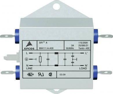 Filtru deparazitare SIFI A, atenuare normală, Epcos, tip B84111-A-A30, 3 A