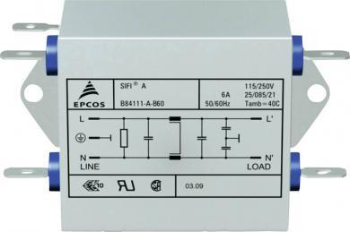 Filtru deparazitare SIFI A, atenuare normală, Epcos, tip B84111AB60, 6 A