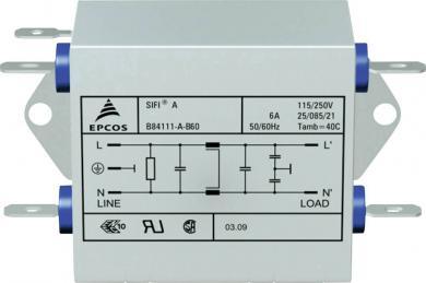 Filtru deparazitare SIFI A, atenuare normală, Epcos, tip B84111AB120, 20 A