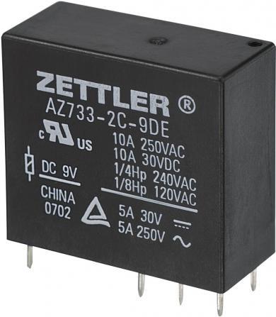 Releu miniatură AZ733, 10 A Zettler Electronics AZ733-2C-9DE 9 V/DC