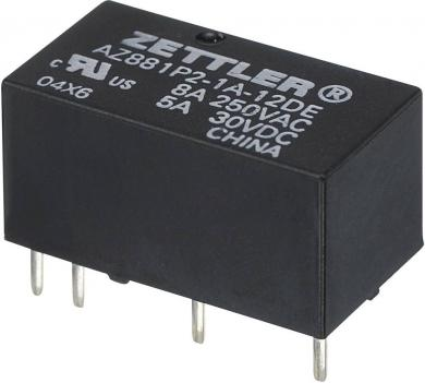 Releu monostabil subminiatură AZ881, 5 A Zettler Electronics AZ881-2A-9DEA 9 V/DC