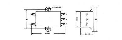 Filtru de reţea universal Yunpen, 2 x 0,3 mH, 10 A