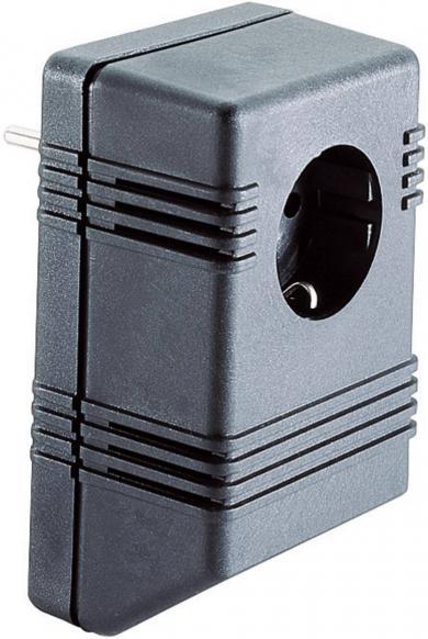 Carcasă pentru alimentator, plastic ABS, clasă de protecţie II, 126 x 75 x 53, cu ştecăr şi priză cu contact de protecţie
