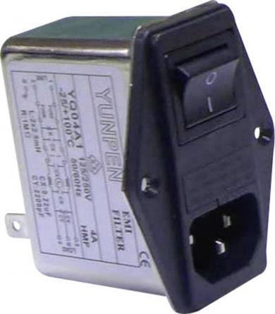 Modul de alimentare IEC cu filtru Yunpen, 2 x 2,5 mH, 4 A