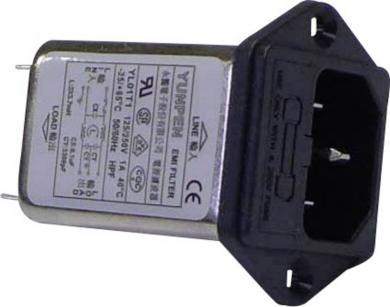 Soclu alimentare tată IEC cu filtru şi suport siguranţă Yunpen, 2 x 3,7 mH, 1 A