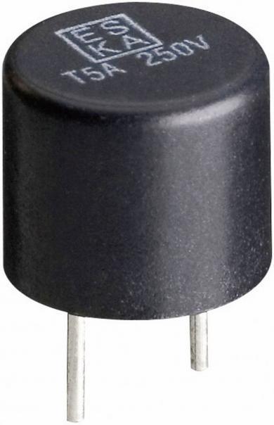 Siguranţă micro-miniatură Eska, RM 5,08 mm, declanşare lentă -T- 0,125 A