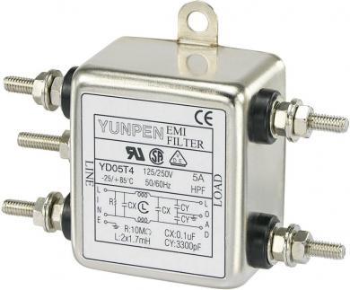 Filtru de reţea 250 V/AC Yunpen, YD05T4, 2 x 1,7 mH, 5 A