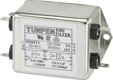 Filtru de reţea 250 V/AC Yunpen, YE05T1, 2 x 5 mH, 5 A