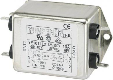 Filtru de reţea 250 V/AC Yunpen, YE10T1L2, 4 x 1,2 mH, 10 A