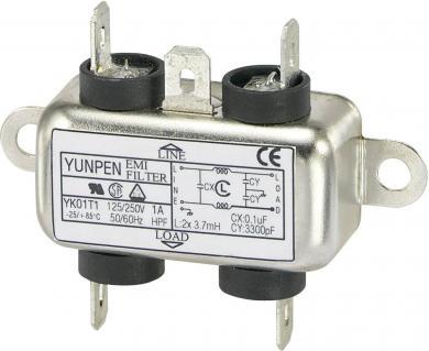 Filtru de reţea 250 V/AC Yunpen, YK01T1, 2 x 3,7 mH, 1 A
