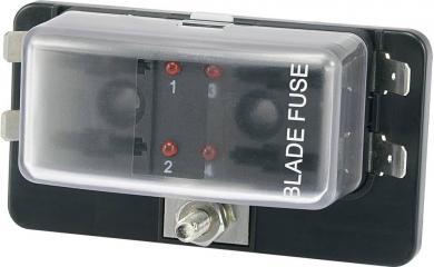 Suport siguranţă auto cu led stare tip R3-76-01-3L104, adecvat pentru 4 siguranţe plate standard 19 mm