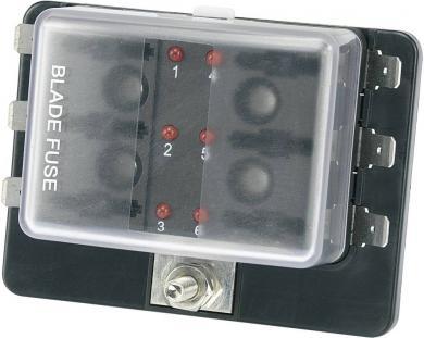 Suport siguranţă auto cu led stare tip R3-76-01-3L106, adecvat pentru 6 siguranţe plate standard 19 mm