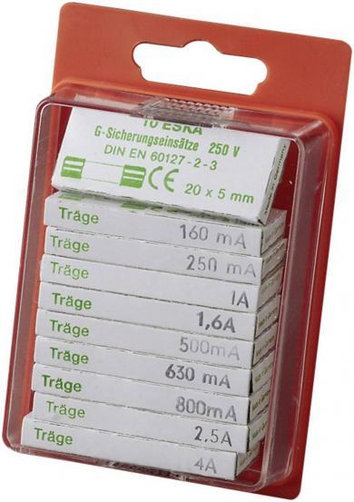 Set siguranţe 5 x 20 mm, Eska 122800, declanșare cu întârziere -T-