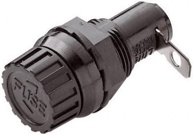 Suport siguranţă 5 x 20 mm negru, cu protecţie la contact accidental