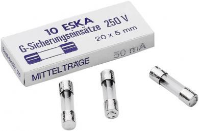 Siguranţă cu întârziere medie, 5 x 20 mm -mT-, Eska 521.020, 250 V, 2 A