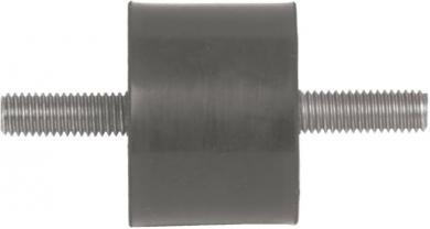 Amortizor exterior/filet exterior, cauciuc/oţel galvanizat, D x H x d x l - 25 x 25 x M6 x 18 mm