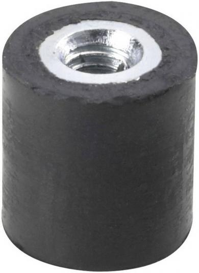 Amortizor cauciuc natural/oţel galvanizat, negru, D x H x d x l -  6 x 7 x M3 x 6 mm