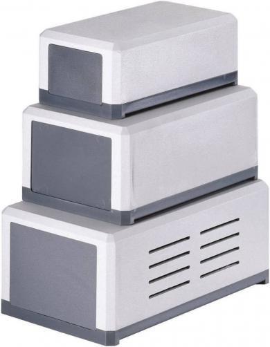 Carcasă plastic din două părţi tip KG 300, cu 8 fante de ventilaţie pe părţile laterale, 160 x 90 x 65 mm, gri deschis