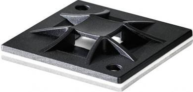 Soclu Q-Mount, autoadeziv, 40 x 40 x 5.5 mm, negru, Ø orificiu fixare 4.1 mm