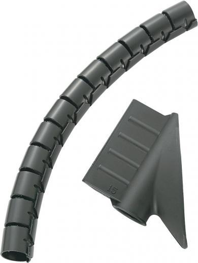 Tub spiralat protecţie cabluri 5 m, Ø max. 15 mm, negru, KSS MX-KLT15BK