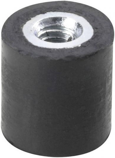 Amortizor cauciuc natural/oţel galvanizat, negru, D x H x d x l -  8 x 8 x M3 x 6 mm