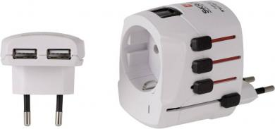 """Adaptor priză """"World Adapter Pro cu USB"""" Skross, alb"""