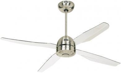Ventilator de tavan (Ø) 132 cm, 3 trepte de viteză, 4 palete, culoare palete/carcasă: transparent/crom (şlefuit), CasaFan Libelle BN