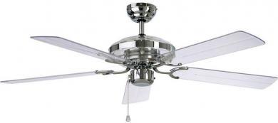 Ventilator de tavan (Ø) 132 cm, 3 trepte de viteză, 5 palete, culoare palete/carcasă: sticlă acrilică/crom, CasaFan Acrylic