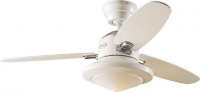 Ventilator de tavan (Ø) 132 cm cu iluminare, 3 trepte de viteză, 3 palete, culoare palete/carcasă: fag, alb tei/alb tei, Hunter Merced WE