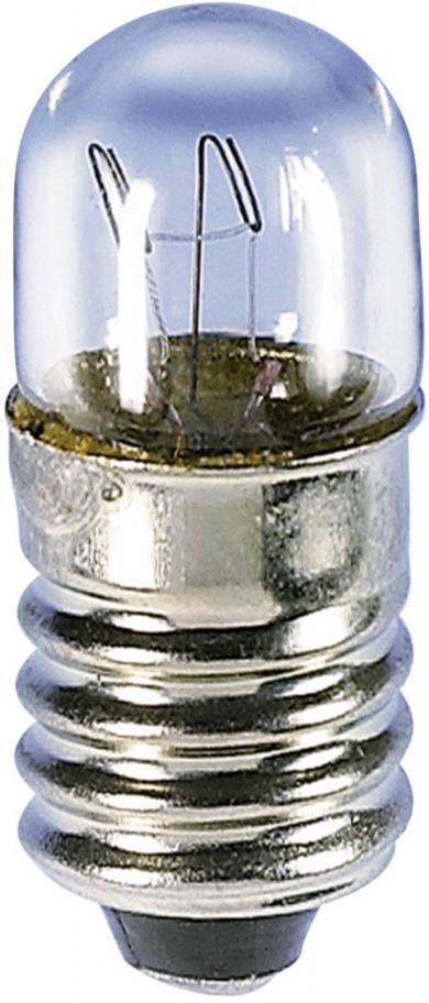 Mini-bec tubular, soclu E10, 6 V, 2.0 W, 10 x 28 mm