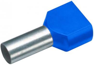 Inele de etanşare Duo izolate cu guler din plastic, 2 x 2,5 mm² x 9 mm, cu două intrări, albastru, Vogt Verbindungstechnik