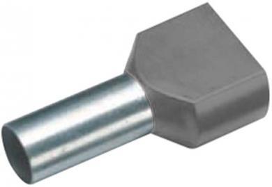 Inele de etanşare Duo izolate cu guler din plastic, 2 x 4 mm² x 12 mm, cu două intrări, gri, Vogt Verbindungstechnik