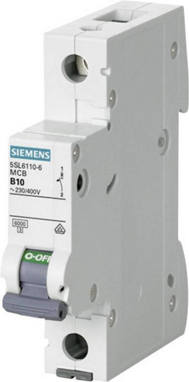 Întrerupător de supracurent monopolar Siemens 5SL6110-6, 10 A, 230 V, 400 V