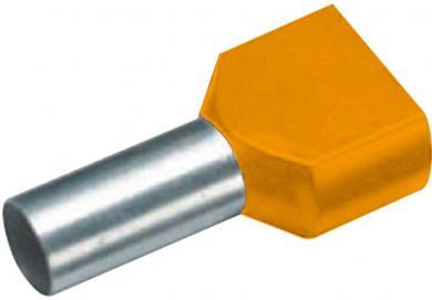 Inele de etanşare Duo izolate cu guler din plastic, 2 x 0,5 mm² x 8 mm, cu două intrări, portocaliu, Vogt Verbindungstechnik