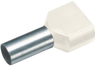 Inele de etanşare Duo izolate cu guler din plastic, 2 x 10 mm² x 14 mm, cu două intrări, fildeş, Vogt Verbindungstechnik
