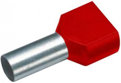 Inele de etanşare Duo izolate cu guler din plastic, 2 x 10 mm² x 14 mm, cu două intrări, roşu, Vogt Verbindungstechnik
