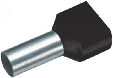 Inele de etanşare Duo izolate cu guler din plastic, 2 x 6 mm² x 14 mm, cu două intrări, negru, Vogt Verbindungstechnik