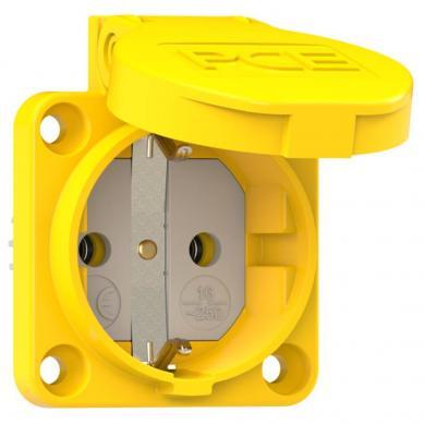 Priză cu capac pentru maşini PCE, galben, IP54