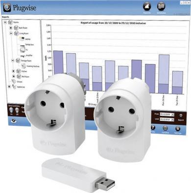 Set de bază prize wireless cu contorizare consum energie şi stick, 3 piese, Plugwise Home Start