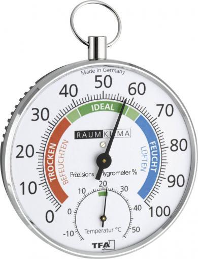 Termohigrometru analogic de perete, argintiu, TFA 45.2027
