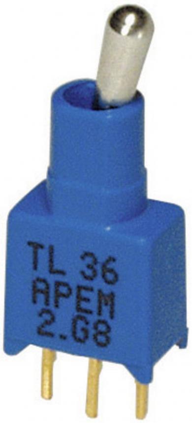 Întrerupător cu manetă TINY APEM, lavabil, TL36P005000 1 x ON/ON 20 V DC/AC 0,02 A