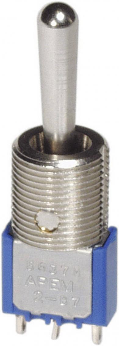 Întrerupător cu manetă, ochiuri de lipire şi inserţii filetate 11,9 mm, tip 5639MA, 1 x ON/OFF/ON