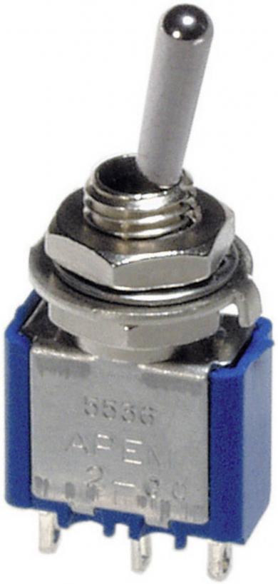 Întrerupător cu manetă APEM, 5249A 2 x ON/OFF/ON 250 V/AC 3 A
