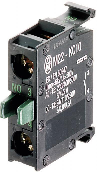 Element de contact M22-K10, 2 A / 500 V, 1 x OFF/(ON), fixare frontală