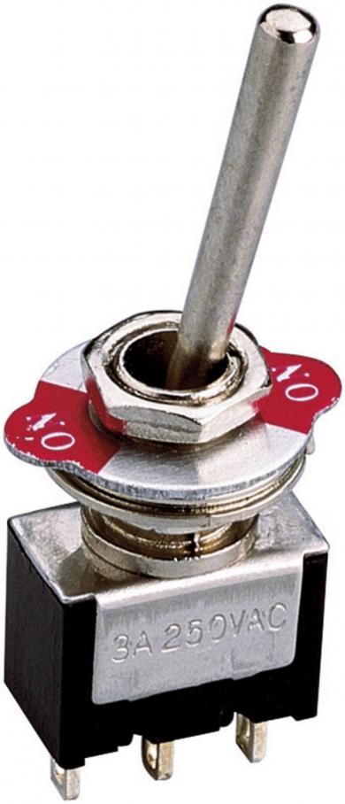 Întrerupător basculant miniatură LB-601-2, 1 x ON/ON 250 V/AC 3 A