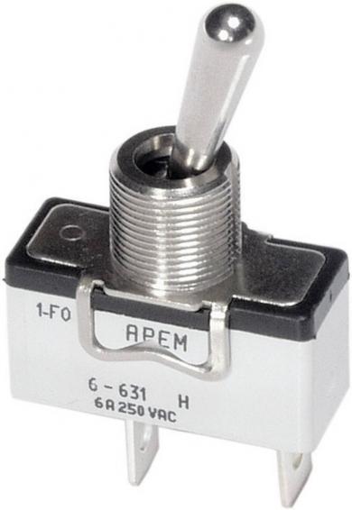 Întrerupător cu manetă tip 6-369H/2, 1 x ON/OFF/ON